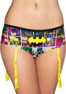 Batman Comic Strip Panty W/garter-medium